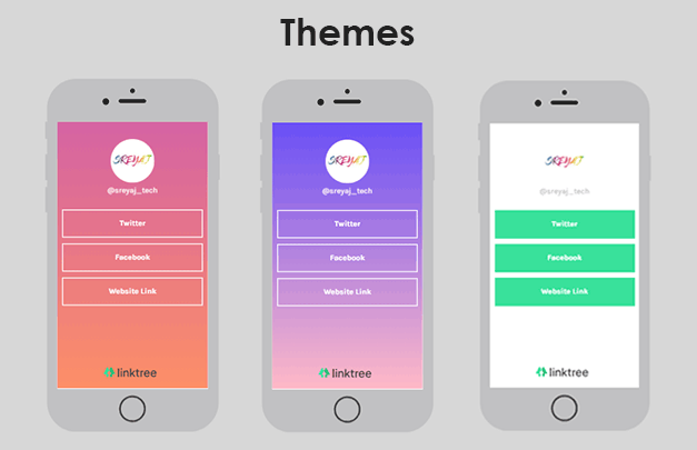 Different Themes Available in Linktree - Links in Instagram Bio