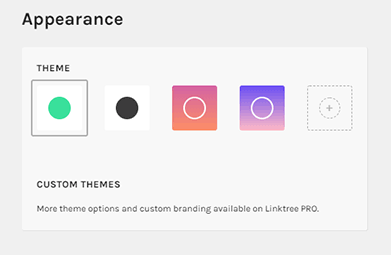 Appearence Settings - Links in Instagram Bio