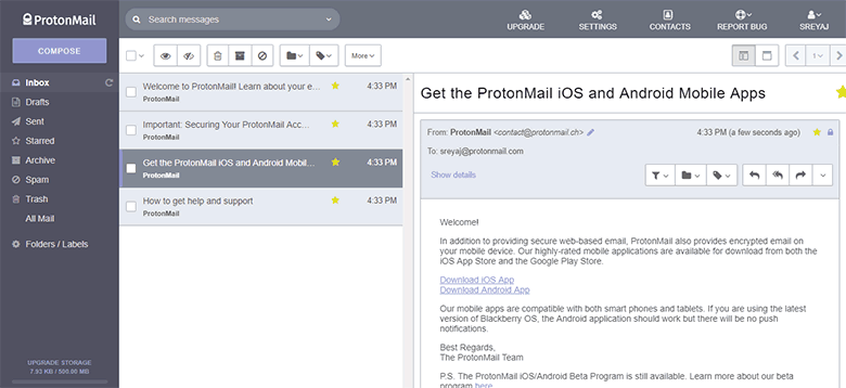 Protonmail Interface - Free Encrypted Email Service