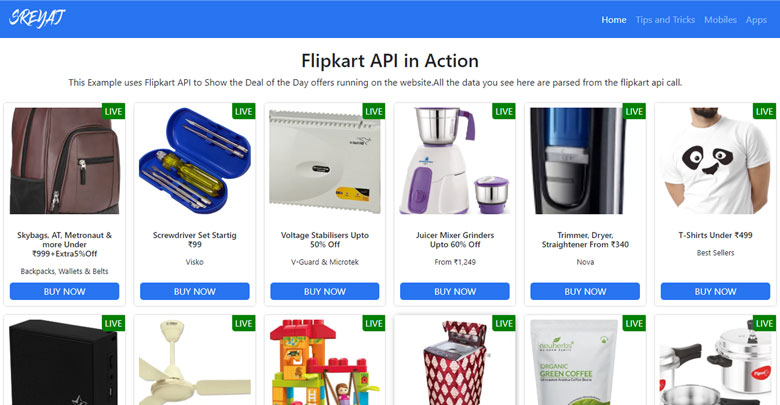 Flipkart Affiliate API Demo
