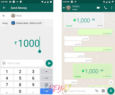 Sending Money using WhatsApp Payments
