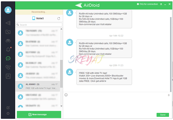 View and Reply Messages from PC using AirDroid - Remotely Control Android