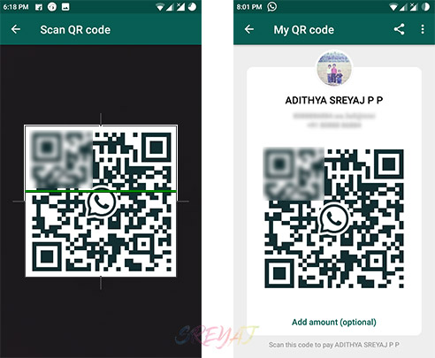 Send Money by Scanning QR Code - WhatsApp Payments