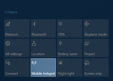 Turn on Wifi Hotspot in Windows 10