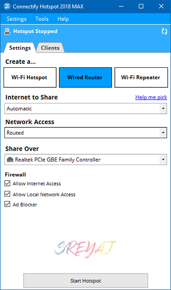 Configure Wired Router using Connectify